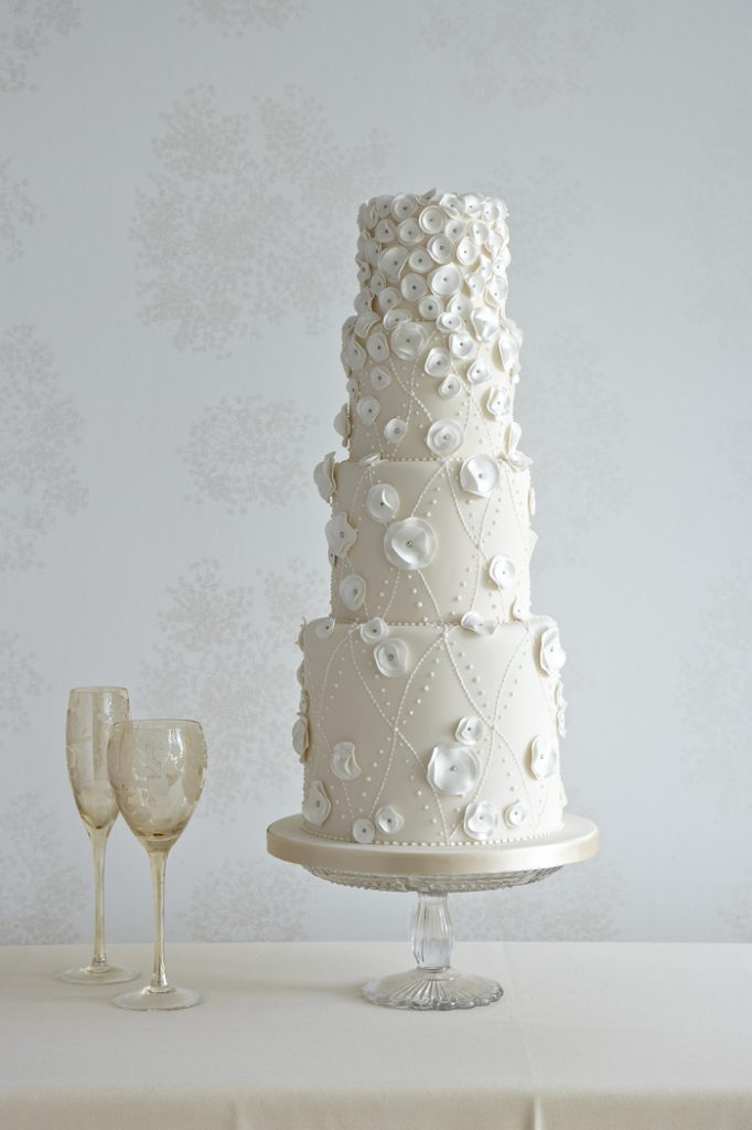 Circle frills and piped dots wedding cake