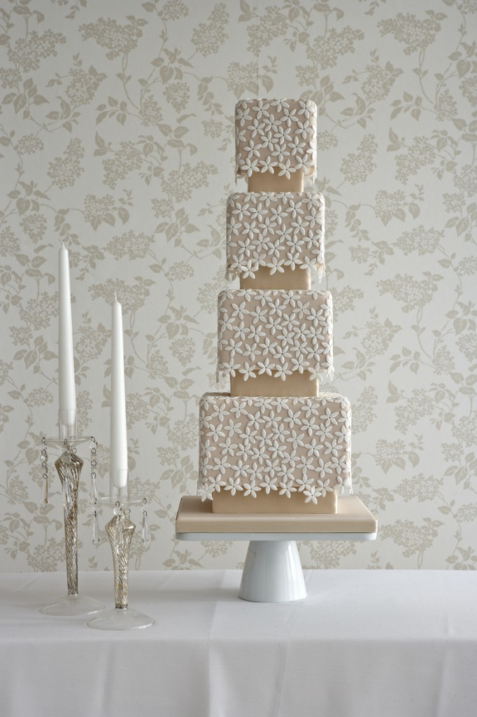 Stephanotis blossom lace wedding cake