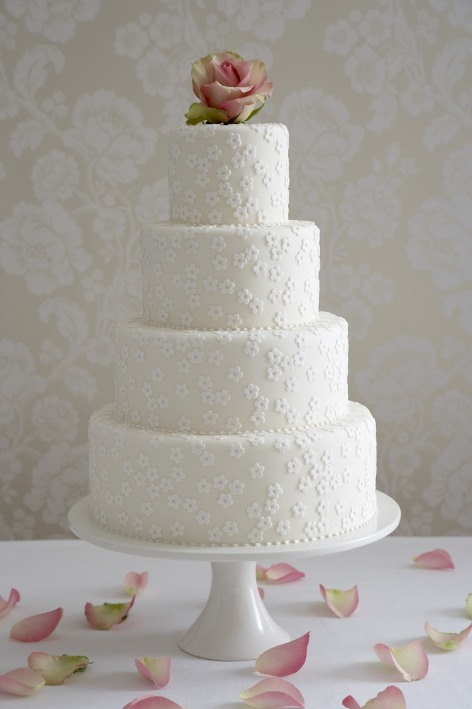 Applique blossoms wedding cake