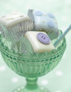 Christening button fondant fancies