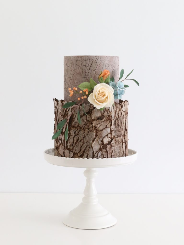 Rustic Bark Wedding Cake