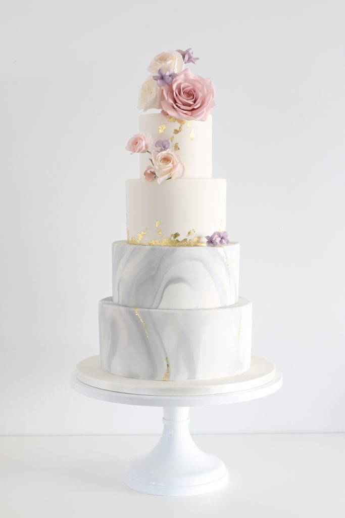 Gold fleck and grey marble wedding cake