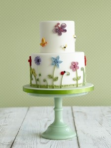 Butterfly garden girl's birthday cakeske
