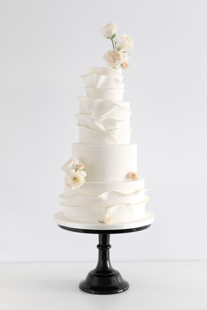 Wedding cake with couture roses