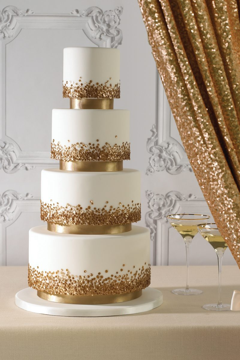 wedding cake with gold sequins