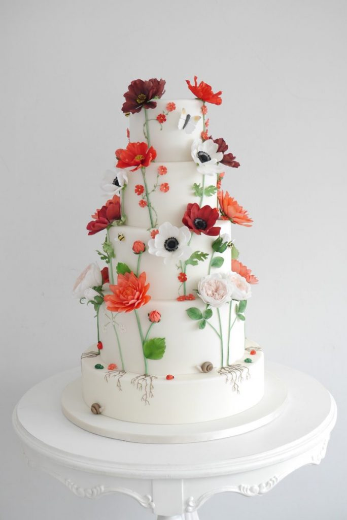 wedding cake with late summer sugar flowers