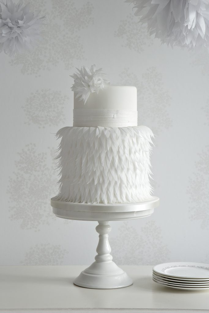 Wafer paper feather wedding cake