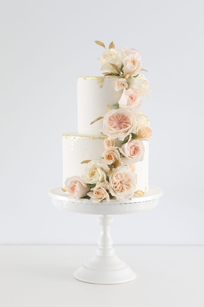 Floral rose cascade wedding cake
