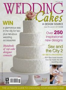 Applique Blossom cake on front cover of magazine