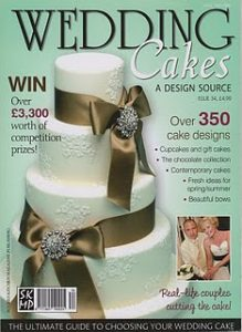 Blossom and bows wedding cakes on front cover of Wedding Cakes magazine
