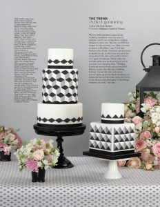Geometric monochrome wedding cakes in YYW