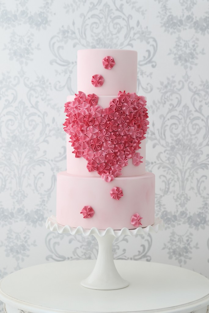 textured heart ruffle wedding cake