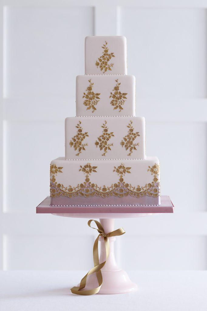 Lace stencil cake