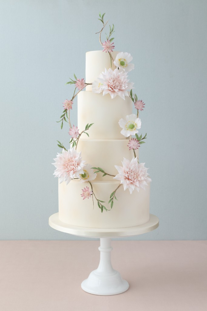 Sugar Dahlias Wedding Cake
