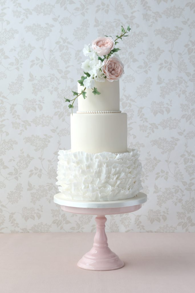 Frills and Pearls iced Wedding Cakes