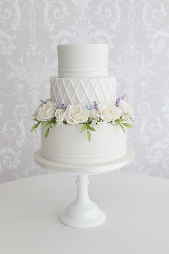 White rose wedding cake