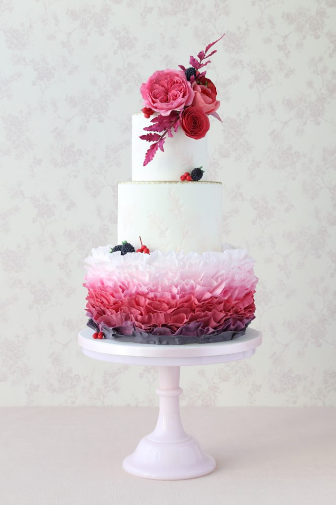 Ruffle wedding cake with David Austin roses
