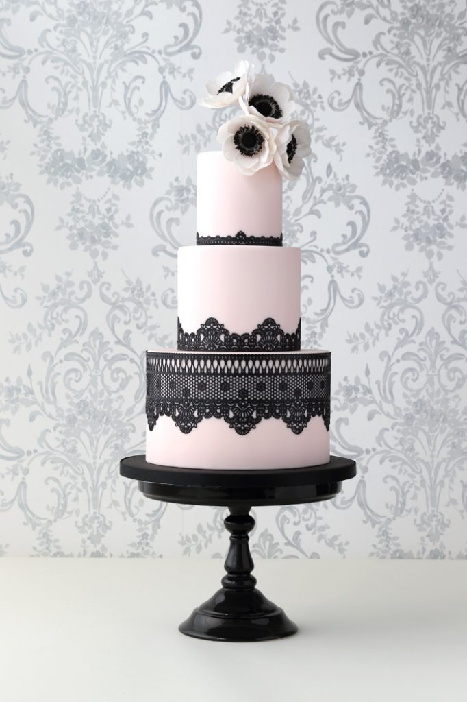 Black Lace and anemone wedding cakes Sunshine coast