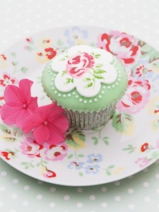 painted rose cupcake