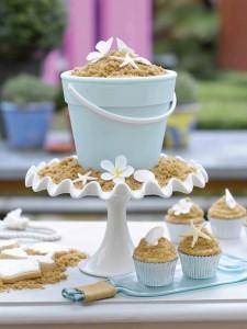 Bucket and sand cake