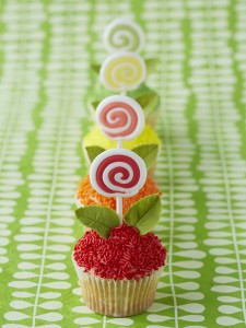 flower lollipops cupcakes