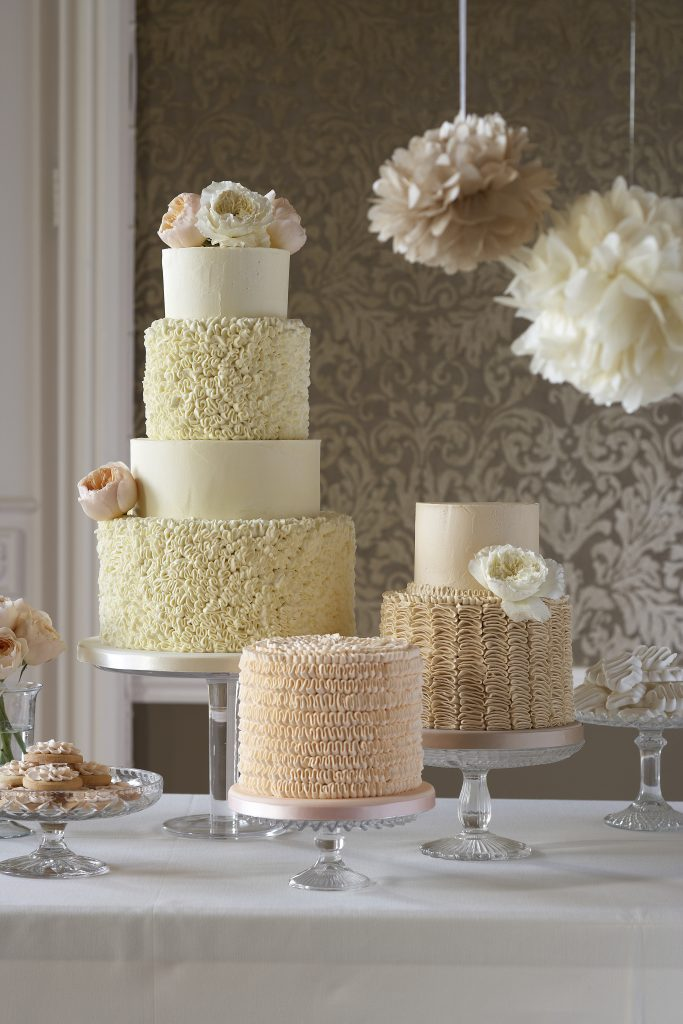 Trio of buttercream wedding cakes