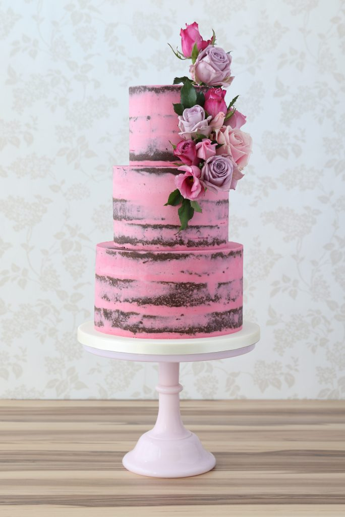 Pink buttercream chocolate wedding cakes