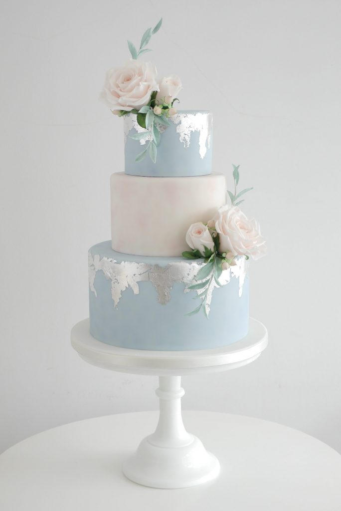 Distressed Silver leaf wedding cakes