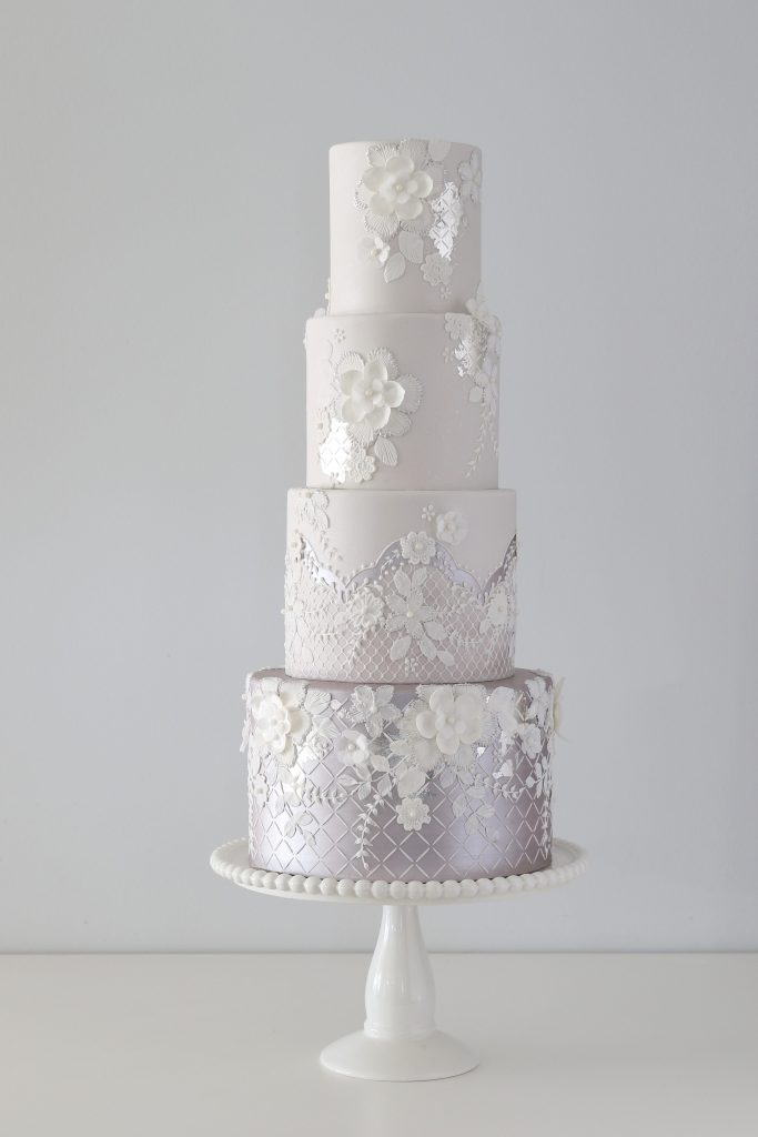 Layered Lace Wedding Cake