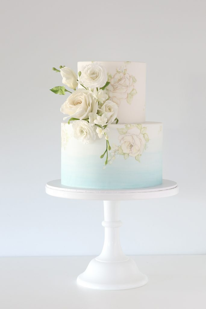 Watercolour blue ombre wedding cake sunshine coast
