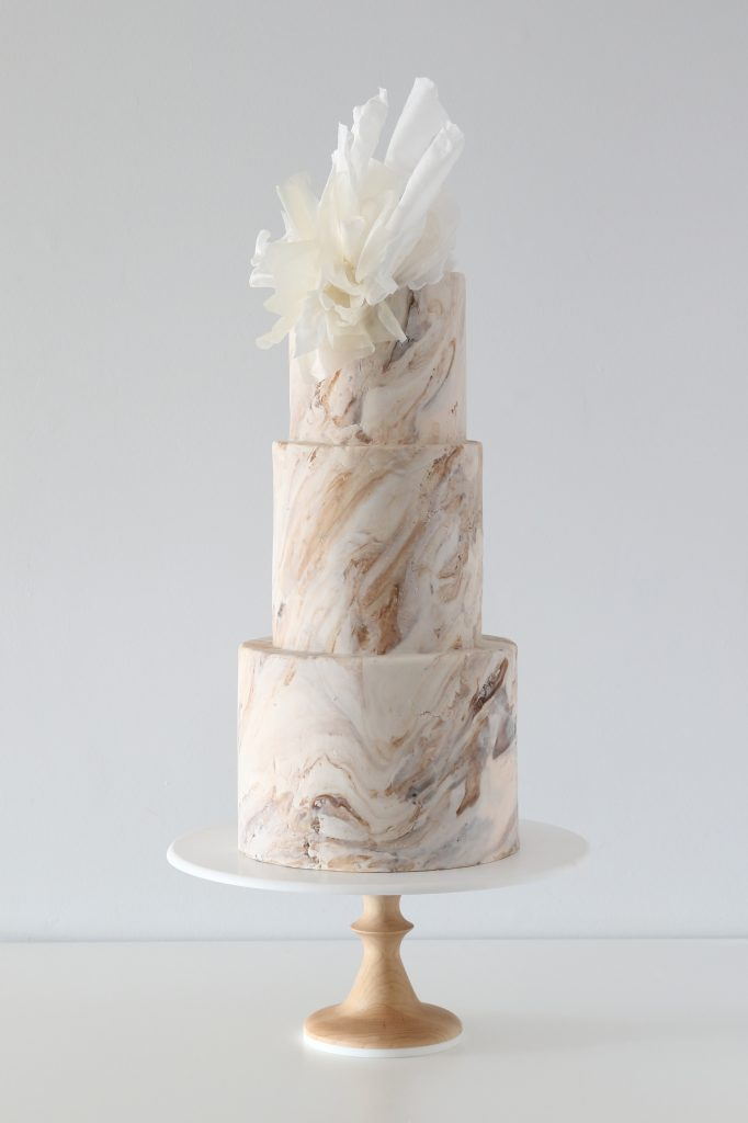 rustic marble wedding cake