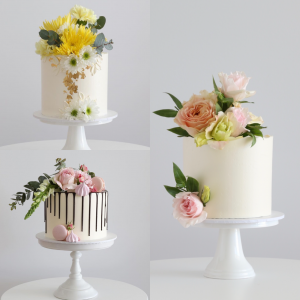 Plain buttercream cake with fresh flowers